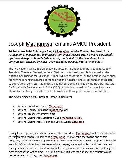 Association of Mineworkers and Construction Union 2019 Elections
