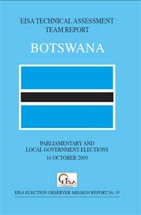 Botswana: Parliamentary and Local 16 October 2009 report cover