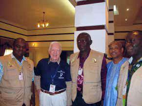 EPP Manager Dieudonne Tshiyoyo with former Presidents Carter and Kufuor during the African Union observer mission to the January 2011 referendum in South Sudan