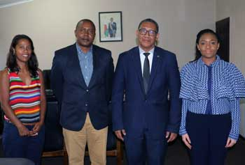 Executive Director of EISA, Mr Denis Kadima and his team, Ms Catherine Musuva, Chief of Party of the Supporting Transition and Electoral Processes (STEP programme) and Ms Jessica Ranohefy Andreas, EISA Representative in Madagascar, meet with Mr Hery Rakotomanana, the Chair of the Electoral Commission of Madagascar.