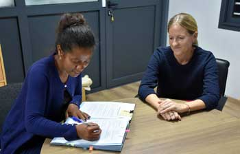 The agreement with UNDP is signed by Jessica Ranohefy Andreas, EISA Representative in Madagascar