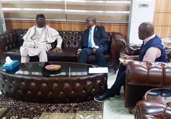 2019 Nigerian General Elections: EOM leader, former Zambian President Rupiah Banda, and his deputy Denis Kadima, EISA ED, meet with Mahmood Yakubu, INEC Chair