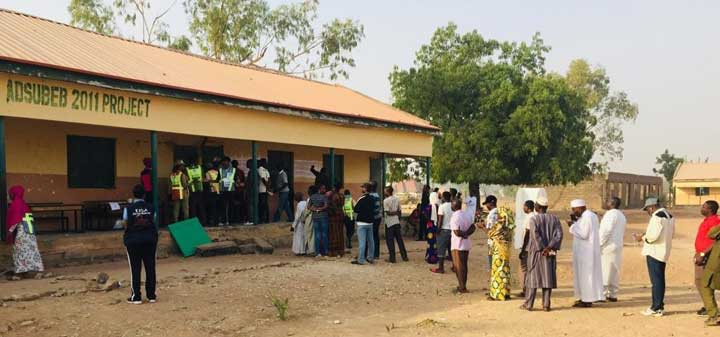 2019 Nigerian General Elections: EISA EOM member inspects voter queue management on election day.