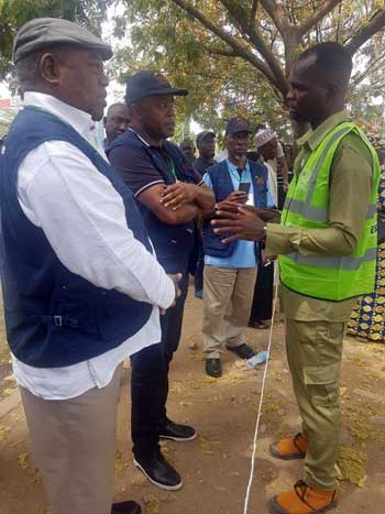 2019 Nigerian General Elections: The Head of EISA EOM and his Deputy gather information from the Presiding Officer of a polling station