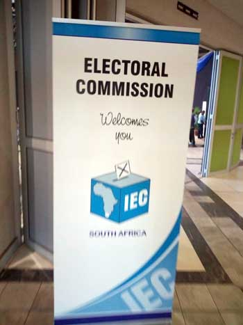 2019 South African elections: IEC banner outside a polling station