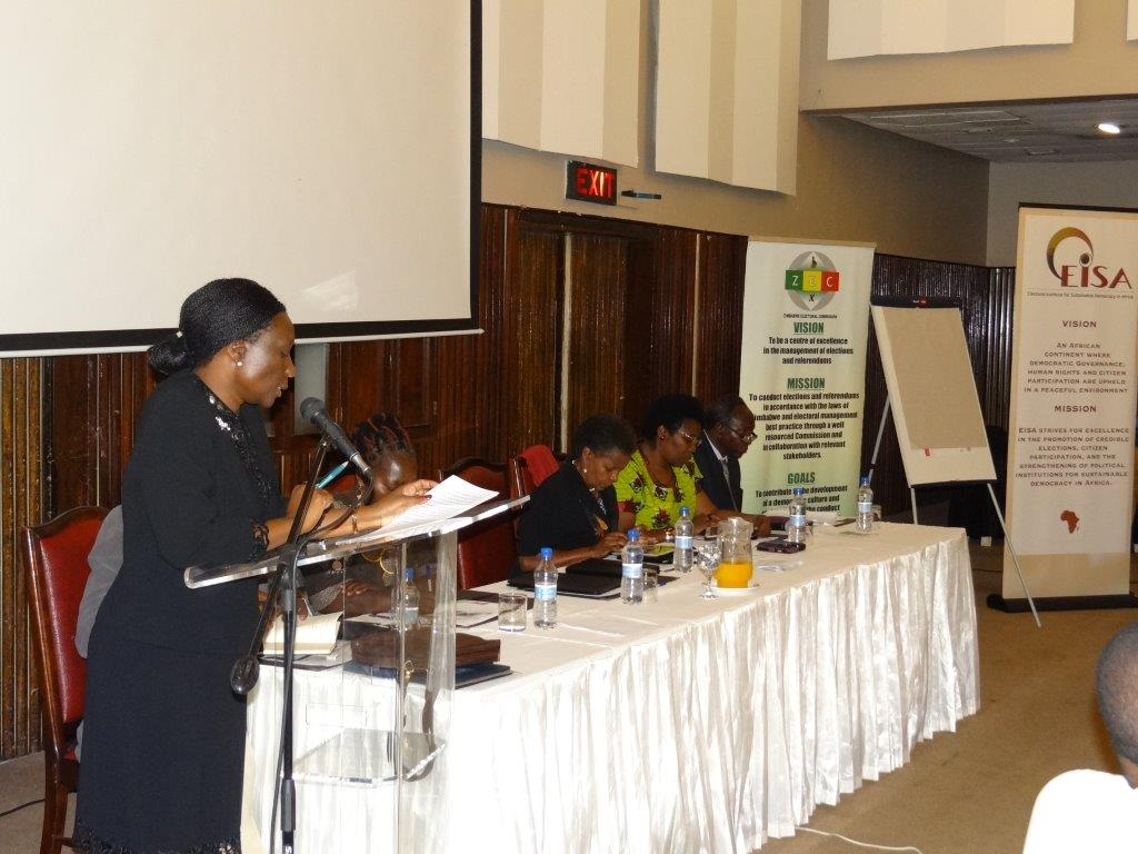 ZEC Chairperson Hon. Justice Makarau officially opening the Voter Registration workshop